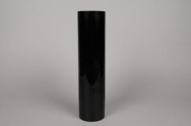 A015PS Vase en verre cylindre noir D10cm H40cm
