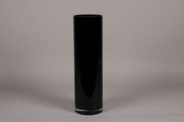 A115I0 Vase glass cylinder black D15cm H60cm
