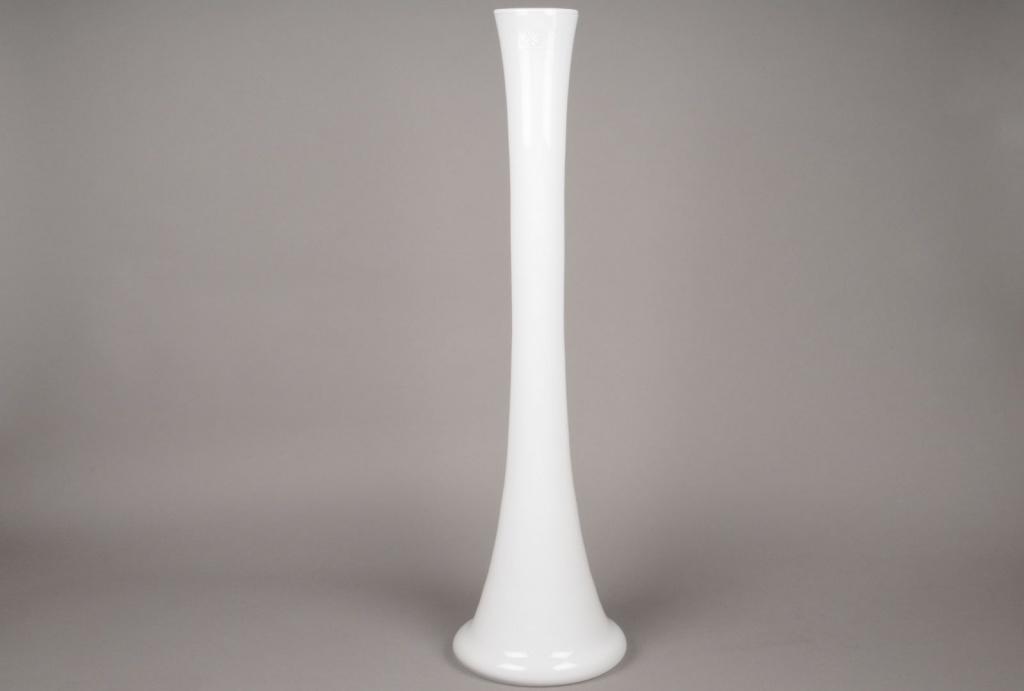 A084I0 Vase en verre église blanc H78cm
