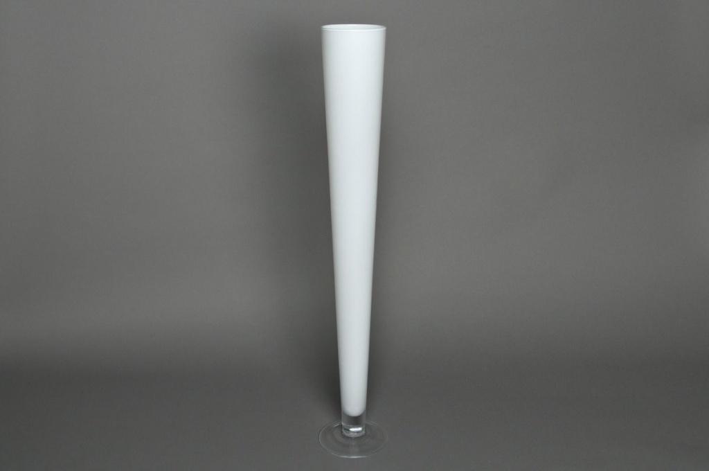 Vase en verre flute blanc D12 H80cm