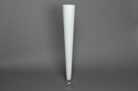 Glass flute vase white D12 H80cm