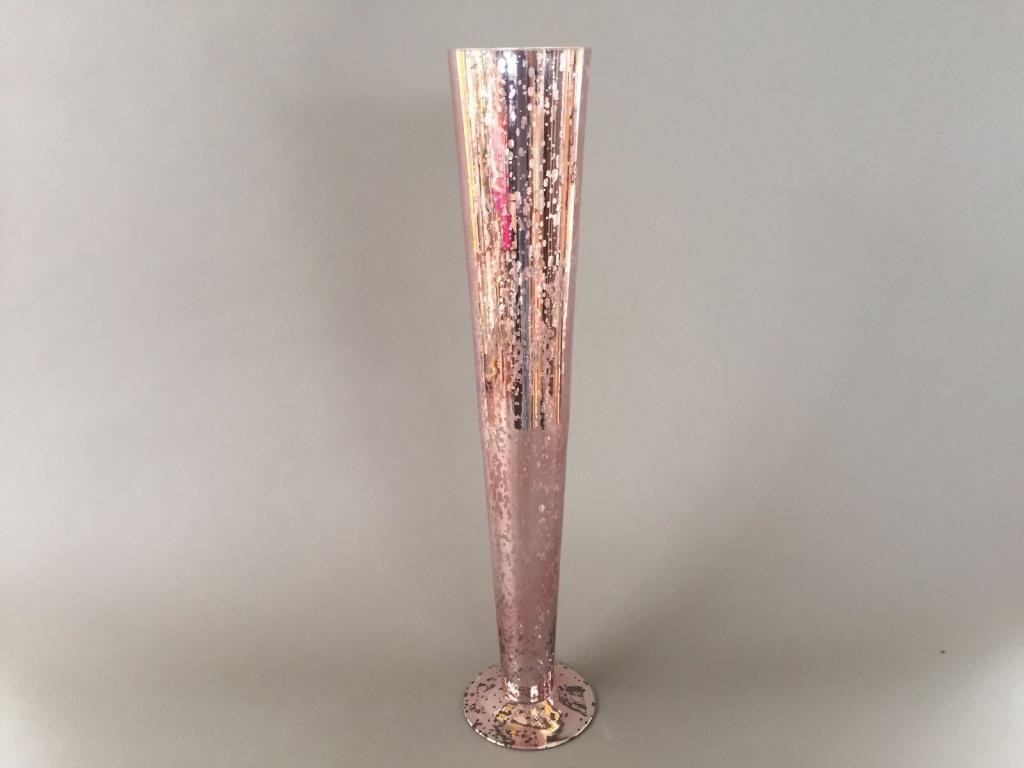 A061K9 Vase en verre flûte or rose D10.5cm H60cm
