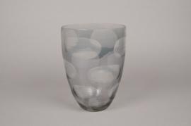 A003C9 Vase en verre gris fumé D18cm H25cm