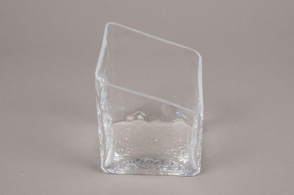 B397W3 Vase en verre losange 10.5cm x 10.5cm H13cm