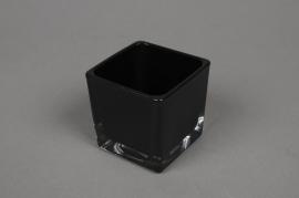 A031I0 Vase en verre noir 6x6cm H6cm