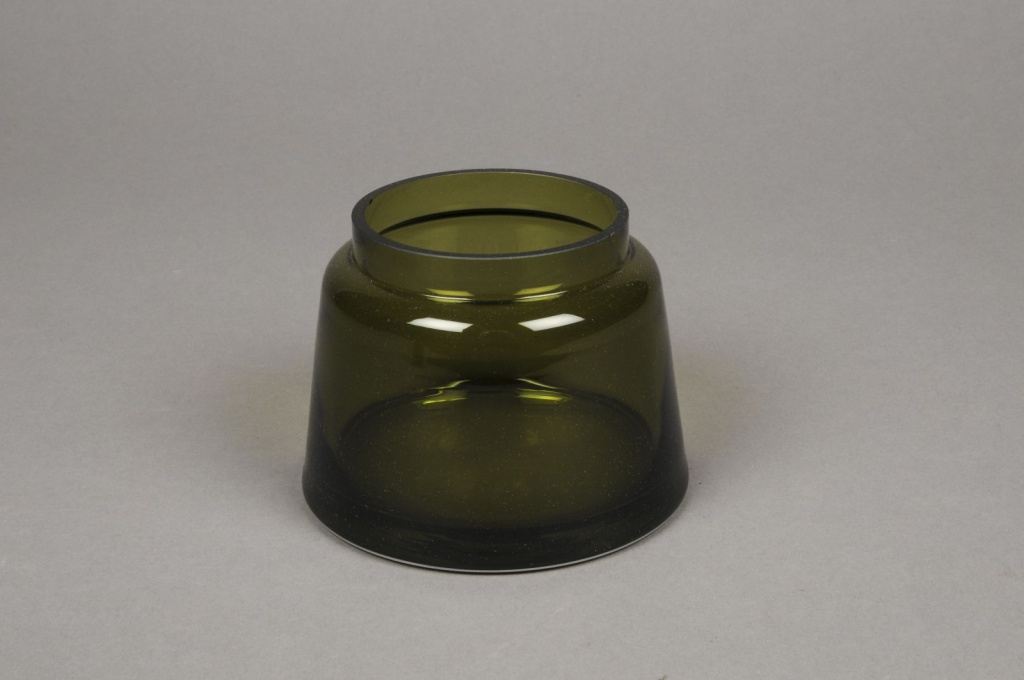 B398W3 Vase en verre olive D11cm H8cm