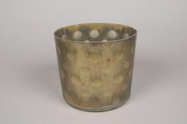 A010C9 Vase en verre or D17cm H15cm