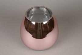 A083K9 Glass vase pink D20cm H18cm