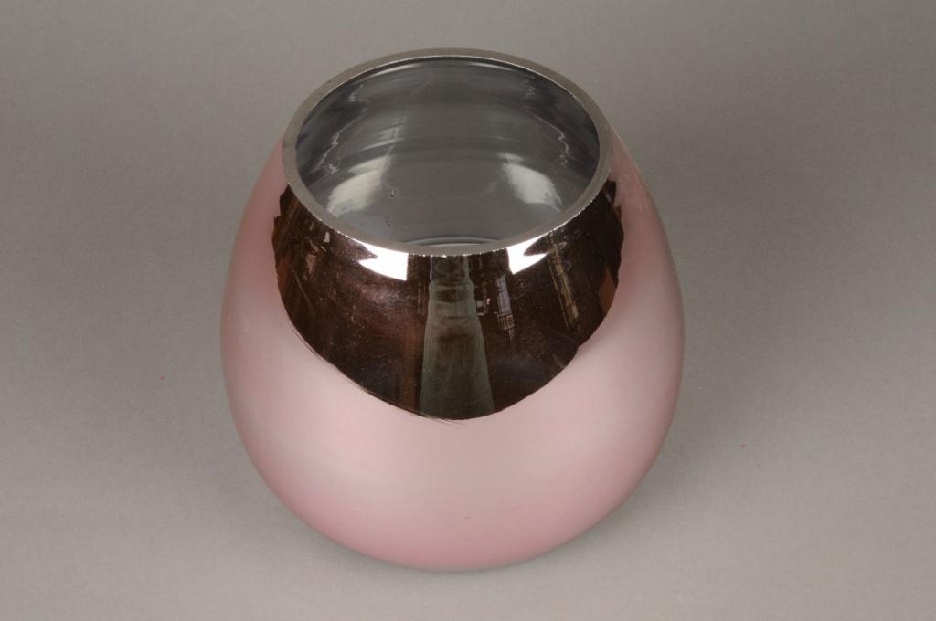 A084K9 Vase en verre or rose D24cm H20cm