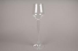 B344W3 Vase en verre sur pied D10cm H42cm