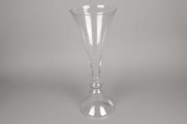 A064K9 Vase en verre sur pied D20cm H56cm