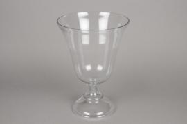 A074K9 Vase en verre sur pied D22cm H30.5cm