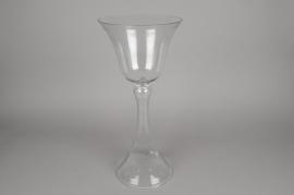A071K9 Vase en verre sur pied D22cm H54cm