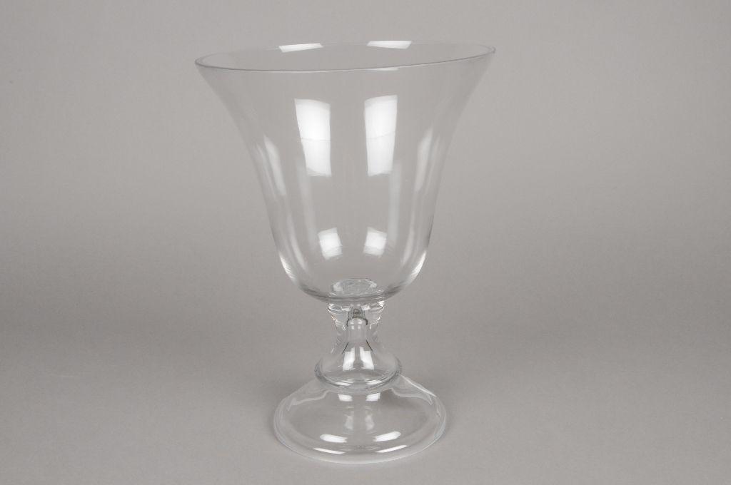 A075K9 Vase en verre sur pied D25cm H36cm