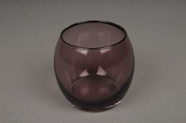 B286W3 Vase en verre violet D8cm H9cm