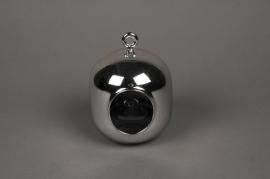 A014K9 Vase gélule en verre argent à suspendre D11cm
