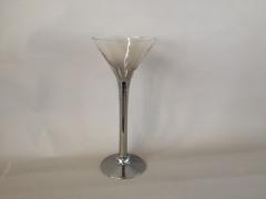 A004B0 Vase Martini en verre argent D18cm H50cm