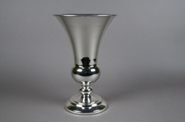 Vase Médicis en métal argent D25cm H41cm