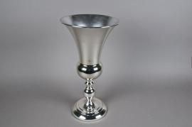 Vase Médicis en métal argent D25cm H50cm