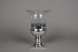 A014B0 Vase médicis en verre argent D23cm H32cm