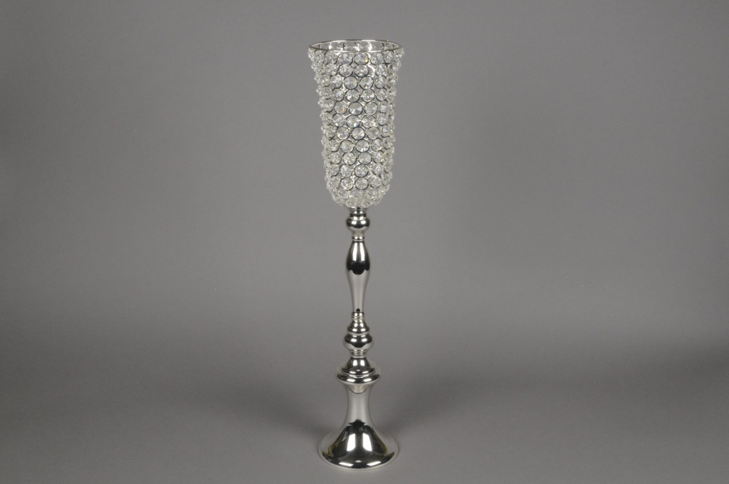 A049Y9 Vase sur pied avec diamants D12cm H63cm