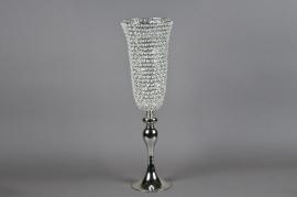 Vase sur pied avec diamants D20cm H71cm