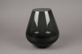 B481W3 Glass vase black D18cm H22cm