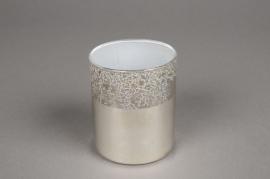 A019K0 Verrine en verre argent D7.5cm H8.5cm