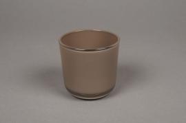 A015R4 Verrine en verre taupe D8cm H7.5cm