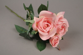 w040am Pink artificial stem rose H60cm