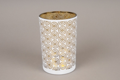 A011P5 White and black glass light holder D12cm H18cm
