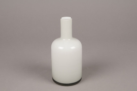 A015MA White and grey glass single flower vase D8cm H18cm