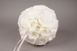 x987nn White artificial rose ball D28cm