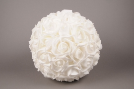 x002id White artificial roses ball D38cm