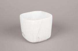 A247HX Cache-pot en céramique blanc 14.5cm x 14.5cm H12cm
