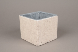 A496QB White ceramic planter 15cm x 15cm H13cm