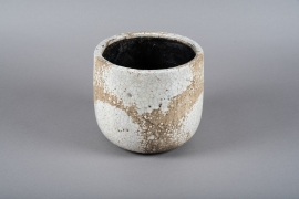White ceramic planter D21.5cm H20cm
