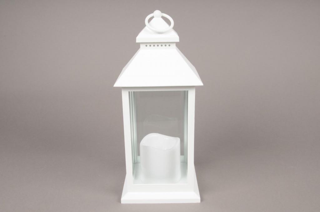 A005A1 White plastic lantern 13.5cm x 13.5cm H32cm