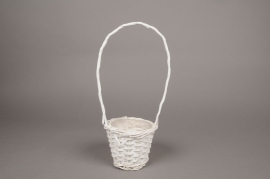 A101MZ White wicker basket D13cm H35cm