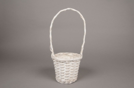 A100MZ White wicker basket D16cm H41cm