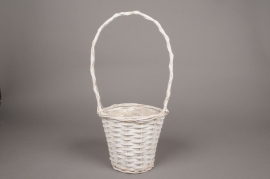 A099MZ White wicker basket D19cm H46cm