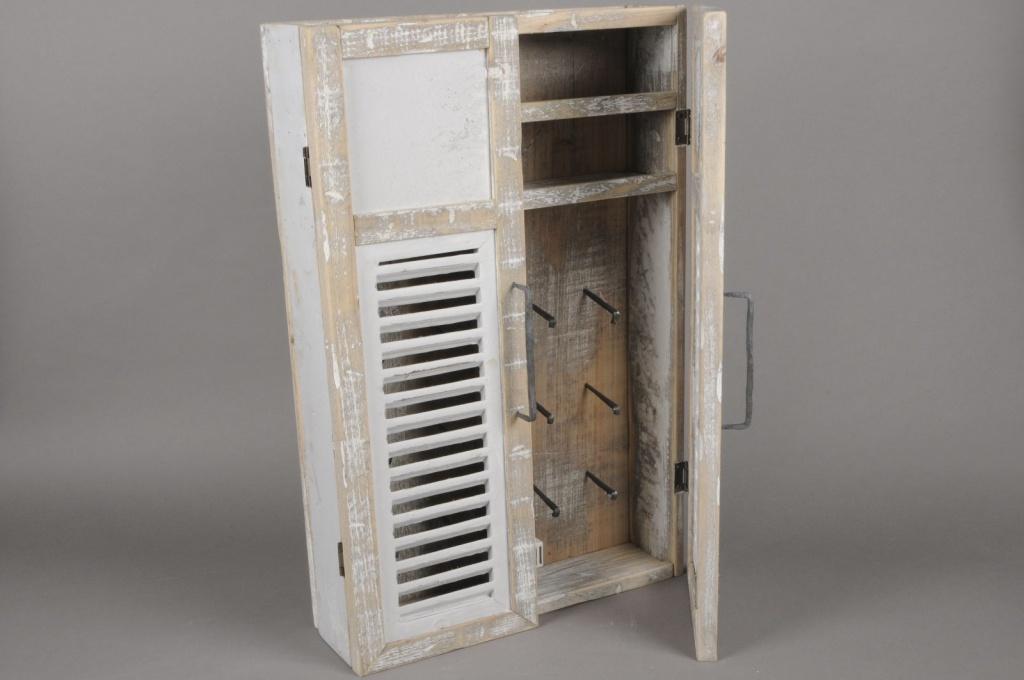 A003AO White wooden chest for keys H67cm
