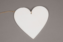SV03PH White wooden heart hanging D20cm