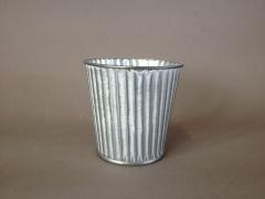 A308KM Whitened zinc planter D8cm H7cm