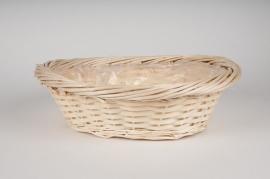 Wicker ball with rim 42x35x13cm