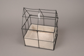 A028AY Wooden and metal greenhouse 16.5cm x 20cm H25cm