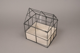 A027AY Wooden and metal greenhouse 19.5cm x 24cm H30cm