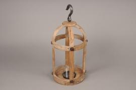 A002S0 Wooden lantern D20cm H46cm