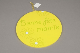 GM06QJ Wooden panel circle Bonne fête Mamie D35cm