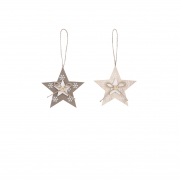 Wooden star assorted H9cm